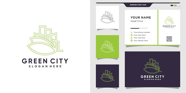 Groen stadslogo met lijnstijl en visitekaartjeontwerp. inspiratie, illustratie logo-ontwerp voor bedrijfsconstructie