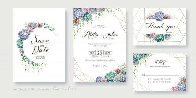 Groen, succulent de kaart van de huwelijksuitnodiging, sparen de datum, dank u, rsvp sjabloon.