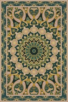 Groen tapijt met granaatappel.