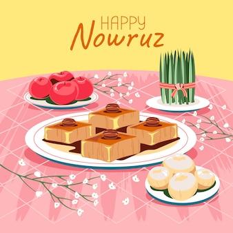 Groen tarwegras semeni met heerlijk zoet gebak voor happy nowruz betekent perzisch nieuwjaar