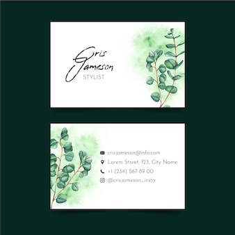Groen tweezijdig horizontaal visitekaartje