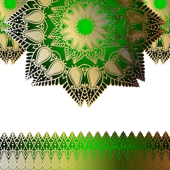Groen uitnodiging gouden patroon in de vorm van een mandala en krullen aan de randen.