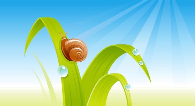 Groen vers gras met een slak. cartoon lente illustratie.