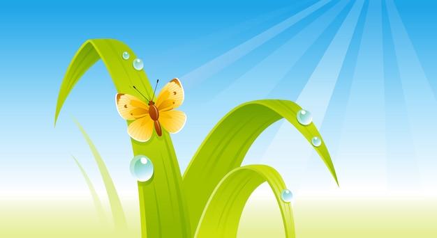 Groen vers gras met een vlinder. cartoon lente illustratie.