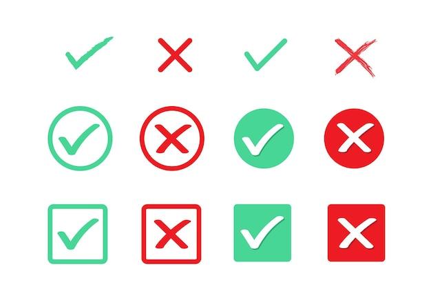 Groen vinkje en rood kruis ware en valse platte pictogrammen