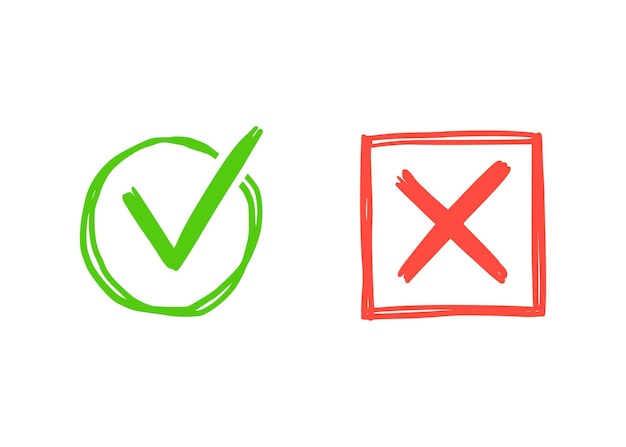 Groen vinkje en rood kruisteken. hand getrokken doodle schets stijl. stem, ja, geen getrokken concept. selectievakje, kruisteken met vierkant, cirkelelement. vector illustratie.