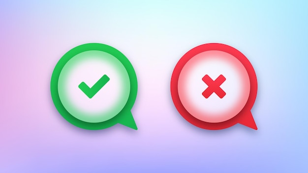 Groen vinkje en spraakpictogrammen met rode kruisbellen