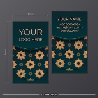 Groen visitekaartje met vintage ornament. printklaar visitekaartjeontwerp met luxe patronen.