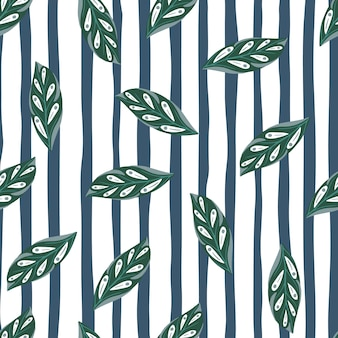 Groen willekeurig blad silhouetten naadloos patroon