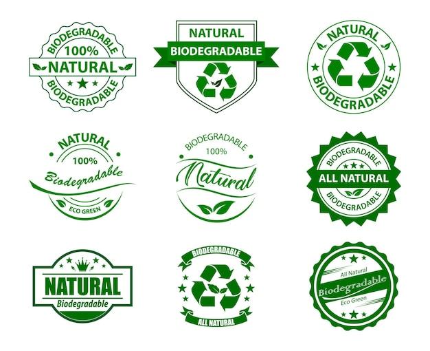 Groen zakconcept of biologisch afbreekbaar plastic hergebruik verminderen en recyclebaar concept eps vector