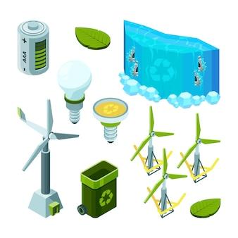 Groenbesparende energie, waterkrachtturbines ecosysteemafvaltechnologie isometrisch