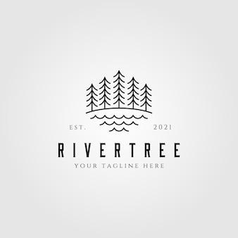 Groenblijvende dennenboom lijn kunst natuur logo