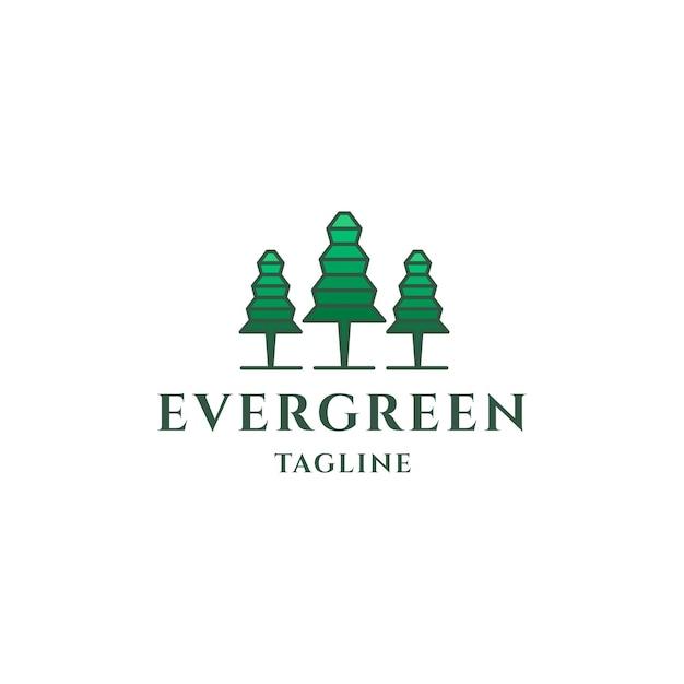 Groenblijvende logo-ontwerp dennenbomen logo sjabloon
