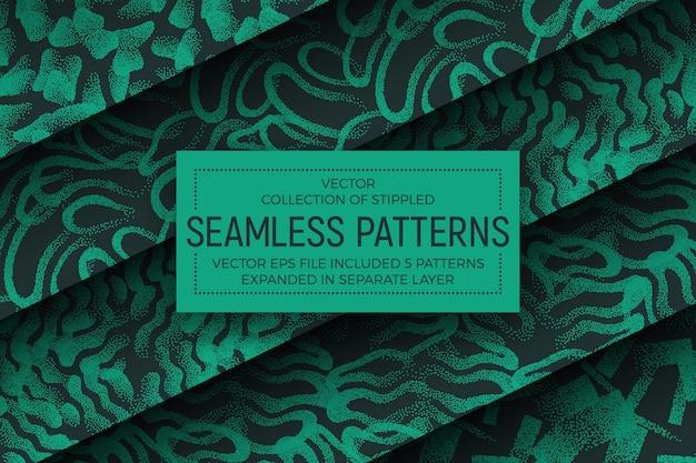 Groene abstracte gestippelde naadloze patronen set