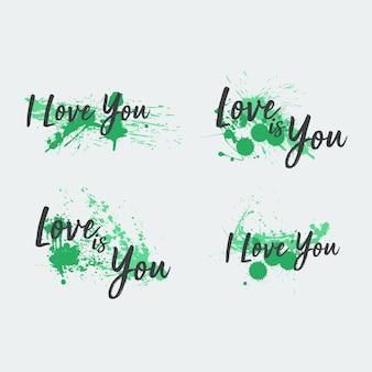 Groene achtergrond love oil painting