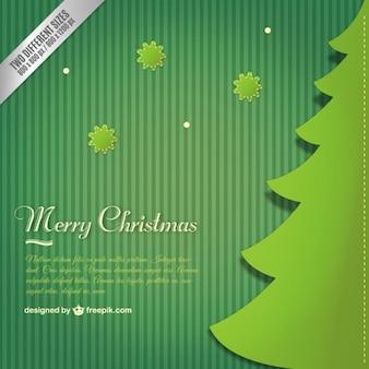 Groene achtergrond met een kerstboom