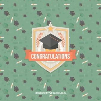 Groene achtergrond met graduatie caps en diploma's
