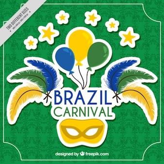 Groene achtergrond met masker voor braziliaans carnaval