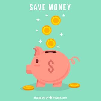Groene achtergrond van spaarvarken met munten