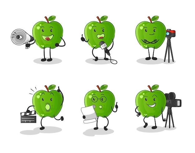 Groene appel entertainment groep karakter. cartoon mascotte