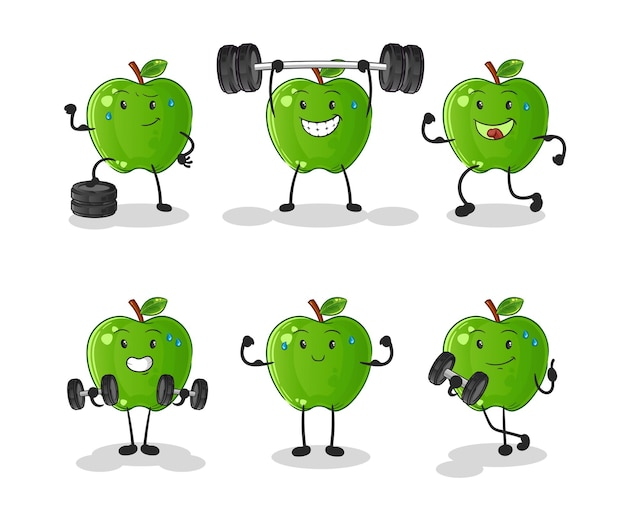 Groene appel oefeningsset karakter. cartoon mascotte