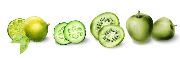 Groene aquarel appel, kiwi, limoen en komkommer
