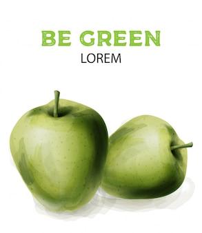 Groene aquarel appels
