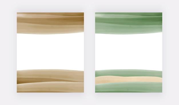 Groene aquarelachtergronden voor uitnodigingen voor kaartenbanners