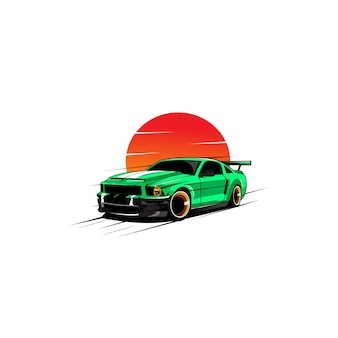 Groene auto en de maan