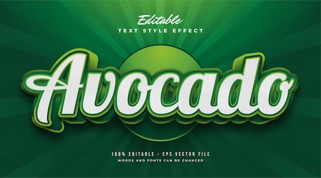Groene avocado-tekststijl met 3d en reliëfeffect. bewerkbaar tekststijleffect