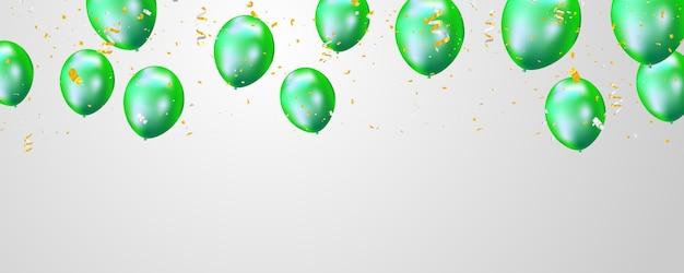 Groene ballonnen en gouden confetti