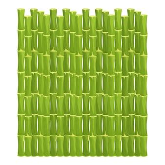 Groene bamboe omheining met touw in cartoonstijl natuurlijke barrière van stokken