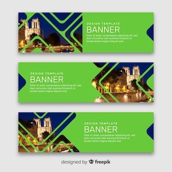Groene banners met afbeeldingen