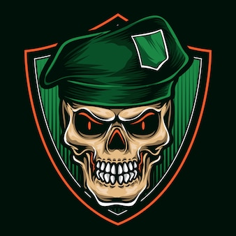 Groene baret schedel