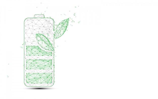 Groene batterij en plant vormen lijnen en driehoeken, punt verbindende netwerkachtergrond. ecologie concept