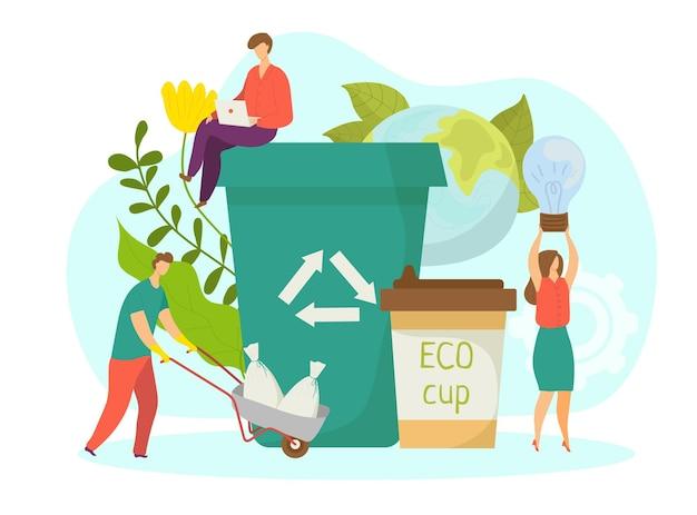 Groene bedrijfsconcept, vectorillustratie. platte man vrouw karakter gebruik ecologie vriendelijk product, kleine mensen staan in de buurt van prullenbak