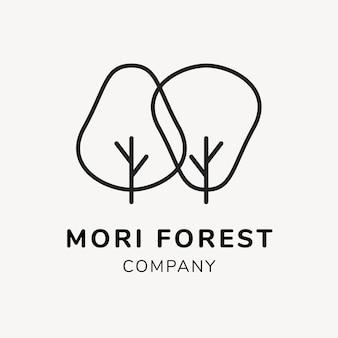 Groene bedrijfslogo sjabloon, branding ontwerp vector, mori forest tekst