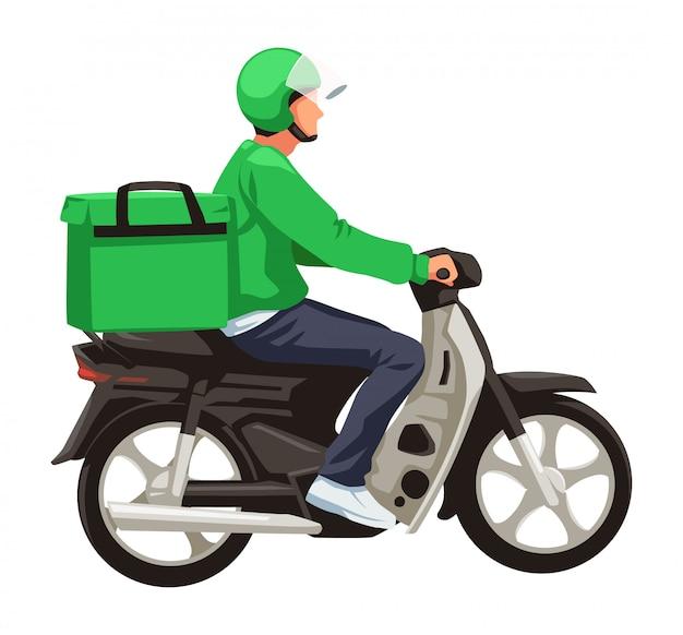 Groene bezorger met scooter