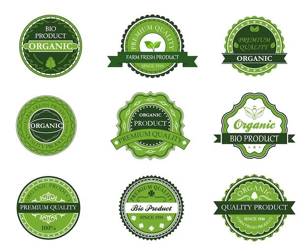 Groene biologische en bio-labels