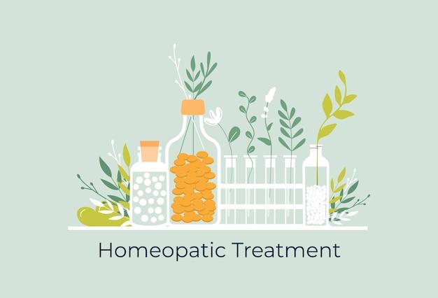 Groene biologische natuurlijke homeopathische pillen in glazen potten. homeopathie behandeling kruiden alternatieve geneeskunde, essentiële natuurlijke olie, kruidenapotheek, voedingssupplement. platte vector