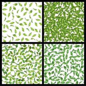 Groene blad achtergrond set van groene bladeren naadloze patronen
