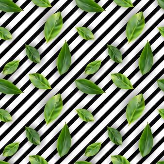 Groene blad realistische naadloze achtergrond