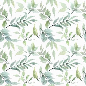 Groene bladeren aquarel naadloos patroon