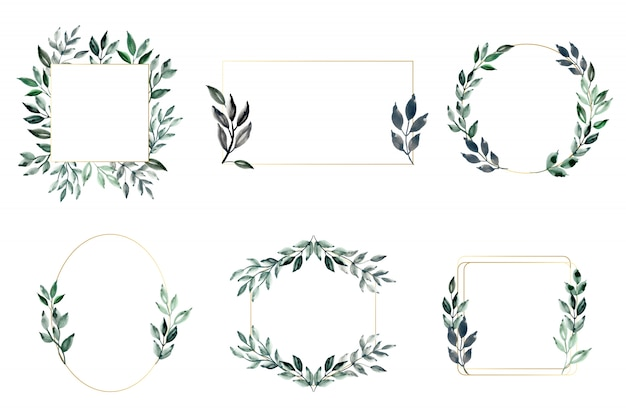 Groene bladeren en gouden frame met waterverf