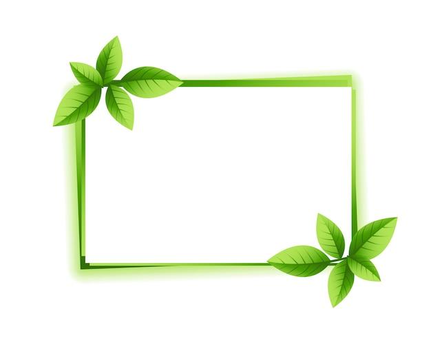 Groene bladeren frame met tekst ruimteontwerp Gratis Vector