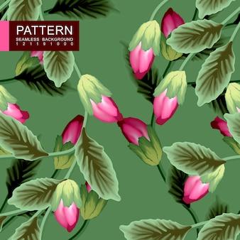Groene bladeren met rode bloemen naadloze patroon