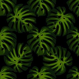Groene bladeren monstera naadloos patroon