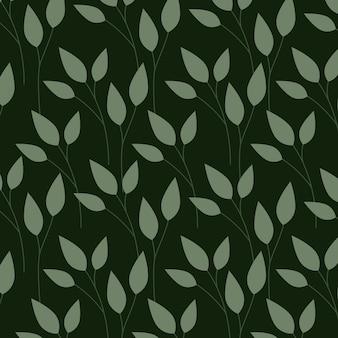 Groene bladeren, patroonillustratie Gratis Vector