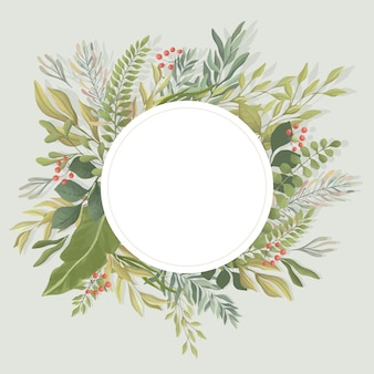 Groene bladeren ronde frame sjabloon. loof, takken vlakke afbeelding. uitnodiging, bruiloft kaartsjabloon.