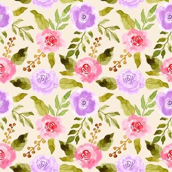 Groene bladeren roze paarse bloem aquarel patroon
